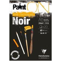 """Альбом для смешанных техник 20л., А5, на склейке Clairefontaine """"Paint'ON Noir"""", 250г/м2, черная 975168C"""