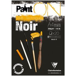 """Альбом для смешанных техник 20л., А4, на склейке Clairefontaine """"Paint'ON Noir"""", 250г/м2, черная 975169C"""