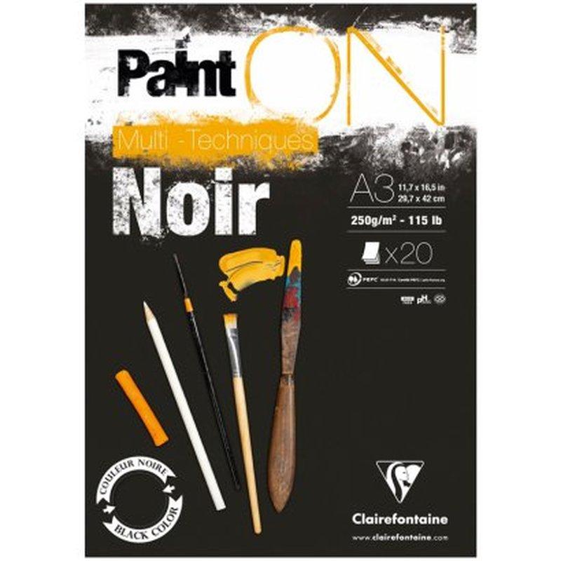 """Альбом для смешанных техник 20л., А3, на склейке Clairefontaine """"Paint'ON Noir"""", 250г/м2, черная 975170C"""