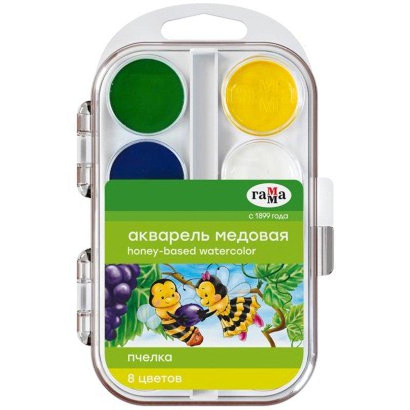 """Краски акварельные ГАММА """"Пчелка"""", 8 цветов, медовые, без кисти, пластиковая коробка, европодвес, 212068"""