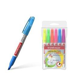 Текстмаркер ErichKrause® Visioline V-15, цвет чернил: желтый, зеленый, розовый, оранжевый, голубой, фиолетовый (в футляре по 6 шт.) 30971