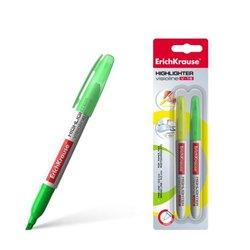 Текстмаркер ErichKrause® Visioline V-15, цвет чернил: желтый, зеленый (в блистере по 2 шт.) 30972