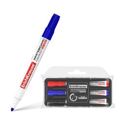Маркер для досок ErichKrause® W-500 с губкой, цвет чернил: черный, синий, красный (в пенале по 3 шт.) 31006