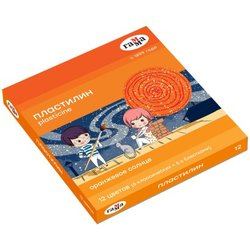 "Пластилин Гамма ""Оранжевое солнце"", 12 цветов ( 6 классич., 6 с блестк.), 168г, со стеком. картон. упак. 130520205"