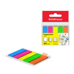 Закладки пластиковые с клеевым краем ErichKrause® Neon, 12х44 мм, 100 листов, 5 цветов 31177