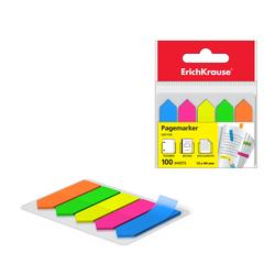 Закладки пластиковые с клеевым краем ErichKrause® Neon Arrows, 12х44 мм, 100 листов, 5 цветов 31178
