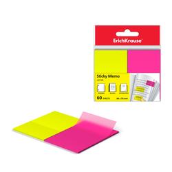 Закладки пластиковые с клеевым краем ErichKrause® Neon, 50х75 мм, 60 листов, 2 цвета: желтый, розовый 31180