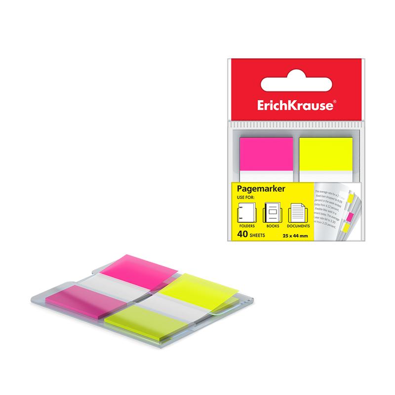 Закладки пластиковые c клеевым краем ErichKrause® Neon, 25х44 мм, 40 листов, 2 цвета: желтый, розовый 31181