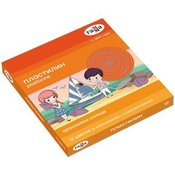 "Пластилин Гамма ""Оранжевое солнце"", 12 цветов (6 классич., 6 перл.), 156г, со стеком, картон. упак. 130520203"