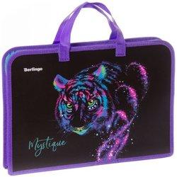 """Папка с ручками 1 отделение, А4 Berlingo """"Neon tiger"""", 340*245*40мм,  пластик, на молнии PTA44023"""
