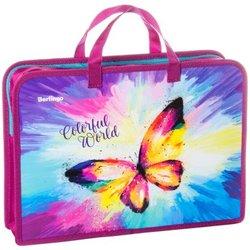 "Папка с ручками 1 отделение, А4 Berlingo ""Colorful butterfly"", 340*245*75мм,  пластик, на молнии PTA47520"