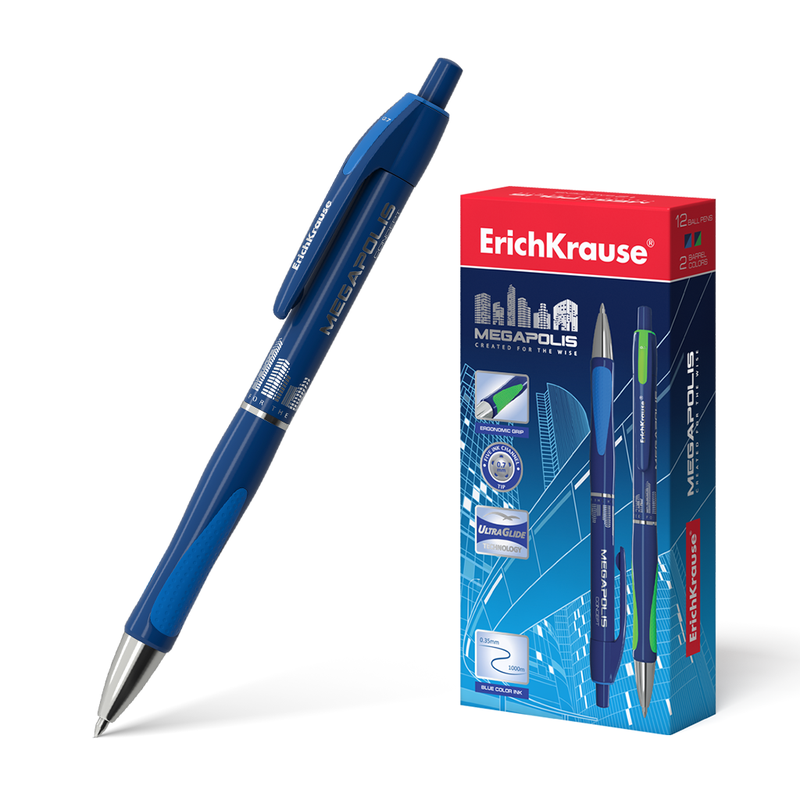 Ручка шариковая автоматическая ErichKrause® MEGAPOLIS® Concept, цвет чернил синий 31