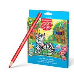 """Акварельные, треугольные карандаши 12 цветов с точилкой и кисточкой """"Artberry"""" 32477"""