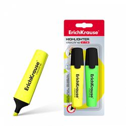 Текстмаркер ErichKrause® Visioline V-12, цвет чернил: желтый, зеленый (в блистере по 2 шт.) 32503