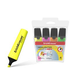 Текстмаркер ErichKrause® Visioline V-12, цвет чернил: желтый, розовый, оранжевый, зеленый (в футляре по 4 шт.) 32504