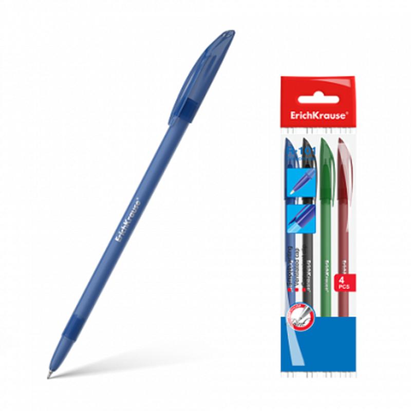 Ручка шариковая ErichKrause® R-101, цвет чернил: синий, черный, красный, зеленый (в пакете по 4 шт.) 33517