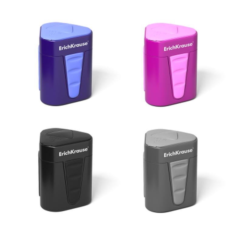 Пластиковая точилка ErichKrause® 3-Touch с контейнером и крышкой (Ассорти) 33615
