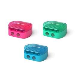 Пластиковая точилка ErichKrause® Duo, два отверстия с контейнером, цвет корпуса ассорти 33616