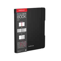 Тетрадь общая ученическая в съемной пластиковой обложке ErichKrause® FolderBook, черный, А5+, 2x48 листов, клетка 48020
