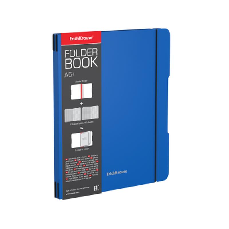 Тетрадь общая ученическая в съемной пластиковой обложке ErichKrause® FolderBook, синий, А5+, 2x48 листов, клетка 48021
