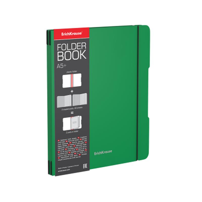Тетрадь общая ученическая в съемной пластиковой обложке ErichKrause® FolderBook, зеленый, А5+, 2x48 листов, клетка 48022