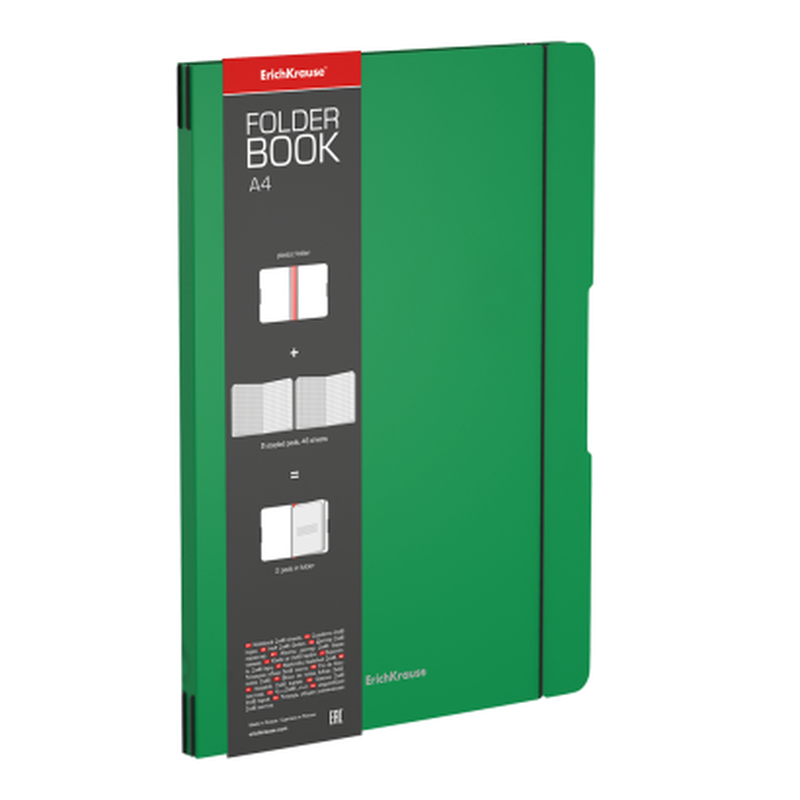 Тетрадь общая ученическая в съемной пластиковой обложке ErichKrause® FolderBook, зеленый, А4, 2x48 листов, клетка 48231