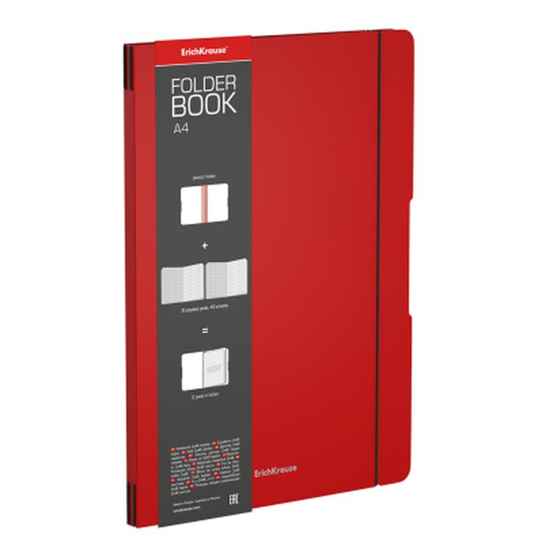 Тетрадь общая ученическая в съемной пластиковой обложке ErichKrause® FolderBook, красный, А4, 2x48 листов, клетка 48232