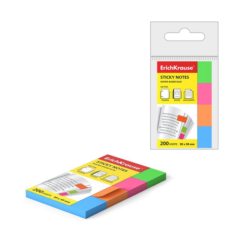 Закладки бумажные с клеевым краем ErichKrause® Neon, 20х50 мм, 200 листов, 4 цвета 34969