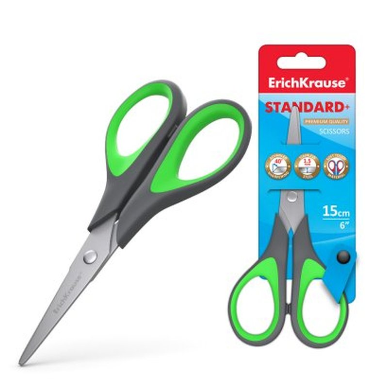Ножницы ErichKrause® Standard+, 15см (блистер) 35098