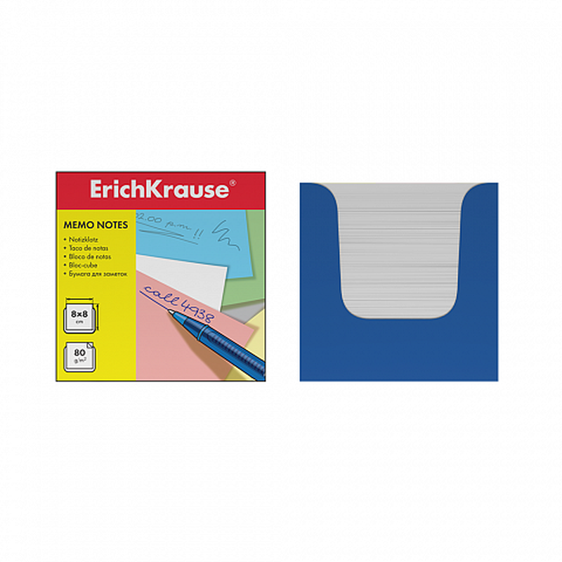 Бумага настольная ErichKrause 80*80*80 мм. в синей картонной подставке. 36986