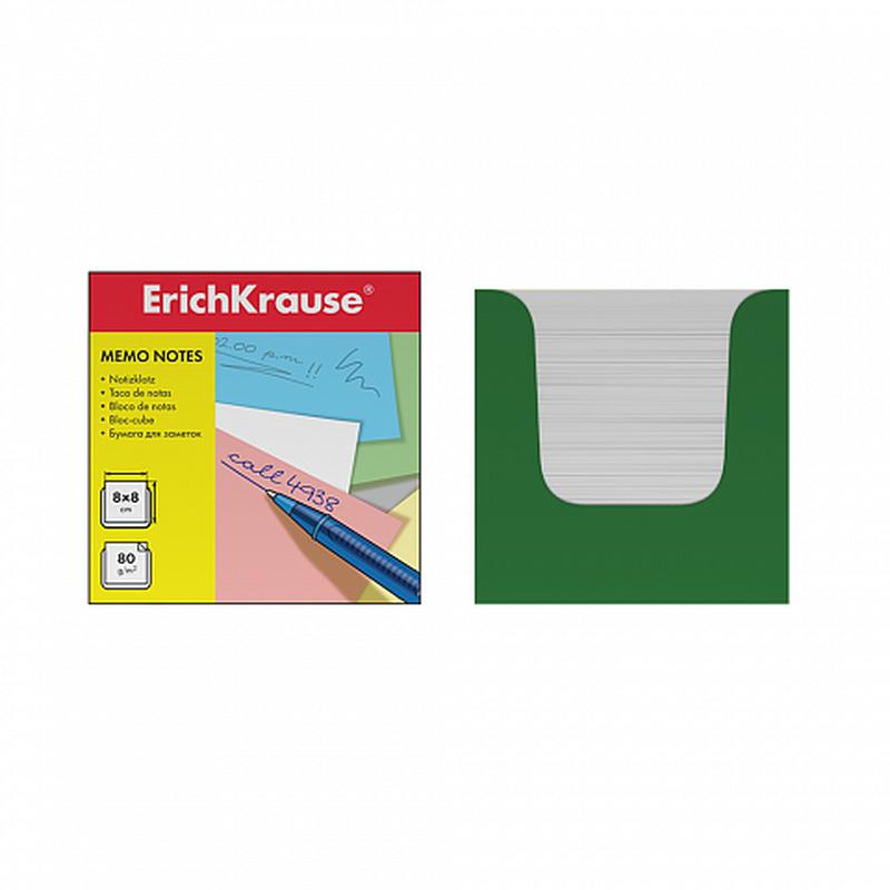 Бумага настольная ErichKrause 80*80*80 мм. в зеленой картонной подставке. 36987