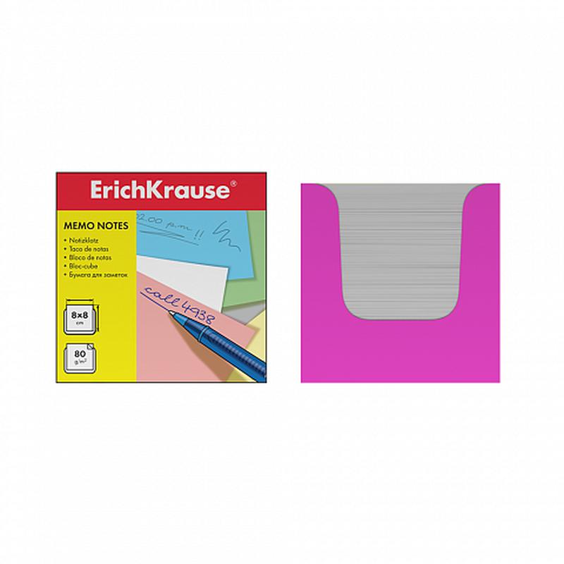 Бумага настольная ErichKrause 80*80*80 мм. в розовой картонной подставке. 36988