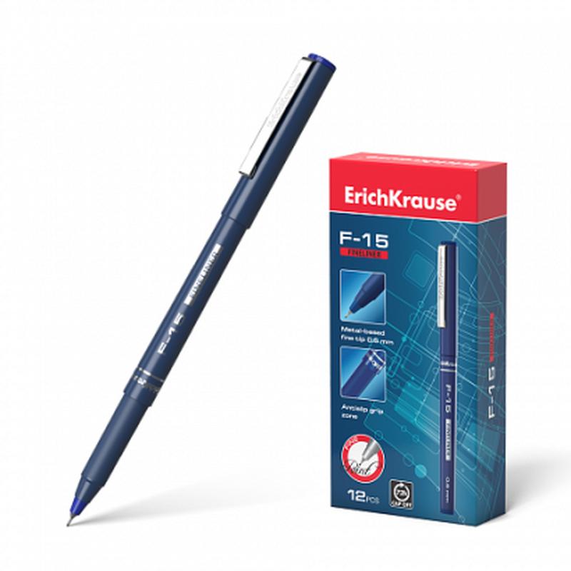 Ручка капиллярная ErichKrause® F-15, цвет чернил синий 37065