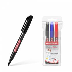 Перманентный маркер ErichKrause® P-70, цвет чернил: черный, синий, красный (в футляре по 3 шт.) 37077