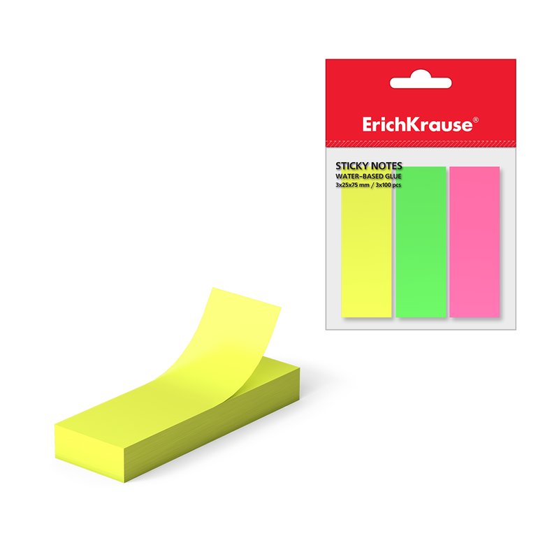 Закладки бумажные с клеевым краем ErichKrause® Neon, 25х75 мм, 300 листов, 3 цвета 37174