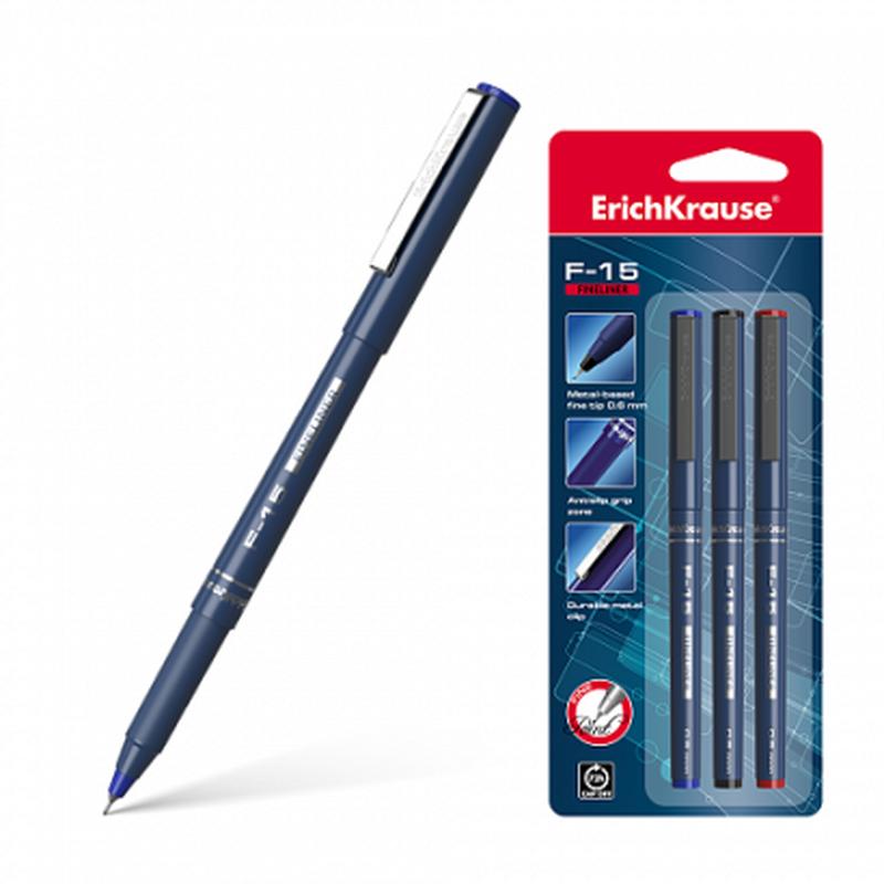 Ручка капиллярная ErichKrause® F-15, цвет чернил: синий, черный, красный (в блистере по 3 шт.) 37176