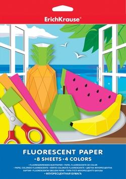 Флуоресцентная бумага ErichKrause А4 8 листов/4 цвета. 37198
