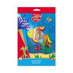 Цветная бумага мелованная в папке с подвесом ArtBerry®, В5, 10 листов, 10 цветов, игрушка-набор для детского творчества 37205