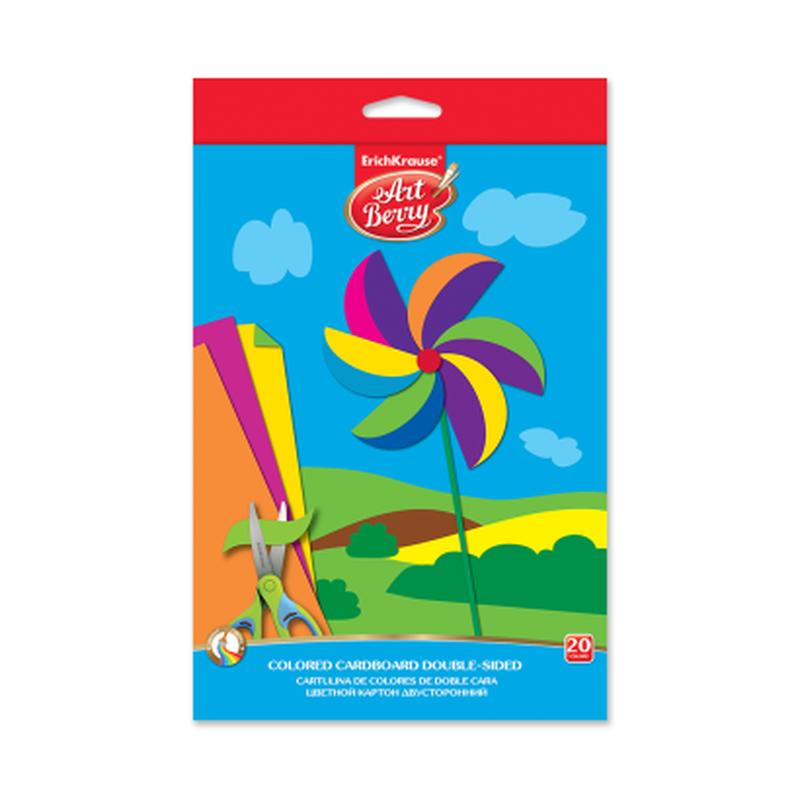 Цветной картон двусторонний мелованный в папке с подвесом ArtBerry®, В5, 10 листов, 20 цветов, игрушка-набор для детского творчества 37212