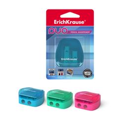 Пластиковая точилка ErichKrause® Duo, два отверстия, с контейнером, цвет корпуса ассорти (в блистере по 1 шт.) 37394
