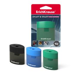 Пластиковая точилка ErichKrause® Smart&Sharp с контейнером, цвет корпуса ассорти (в блистере по 1 шт.) 37395