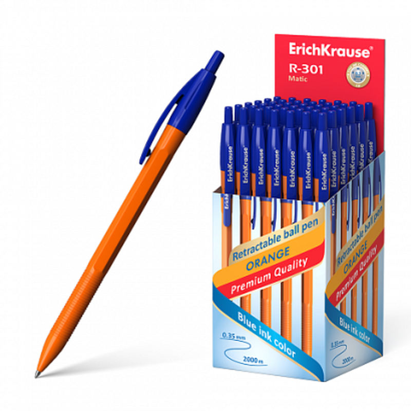 Ручка шариковая автоматическая ErichKrause® R-301 Orange Matic 0.7, цвет чернил синий (в коробке по 50 шт.) 38512