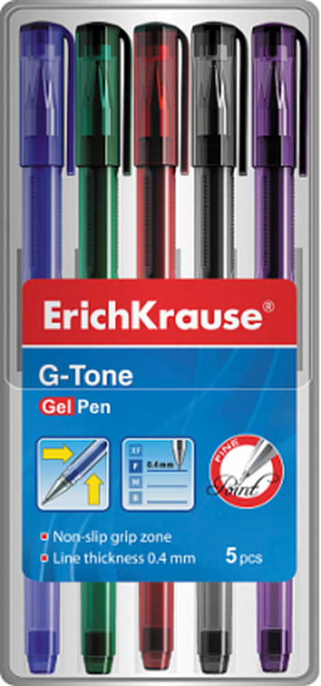 Ручка гелевая ErichKrause® G-Tone, цвет чернил: синий, черный, красный, зеленый, фиолетовый (футляр 5 шт.) 39002
