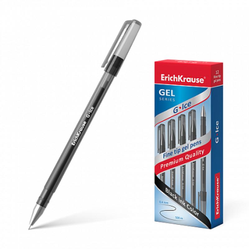 Ручка гелевая ErichKrause® G-Ice, цвет чернил черный (в коробке по 12 шт.) 39004