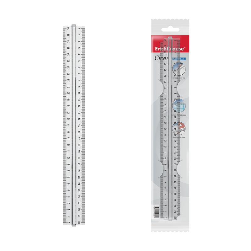 Пластиковая линейка с держателем 30 см. 39081