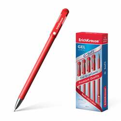 Ручка гелевая ErichKrause® G-Soft, цвет чернил красный (в коробке по 12 шт.) 39432