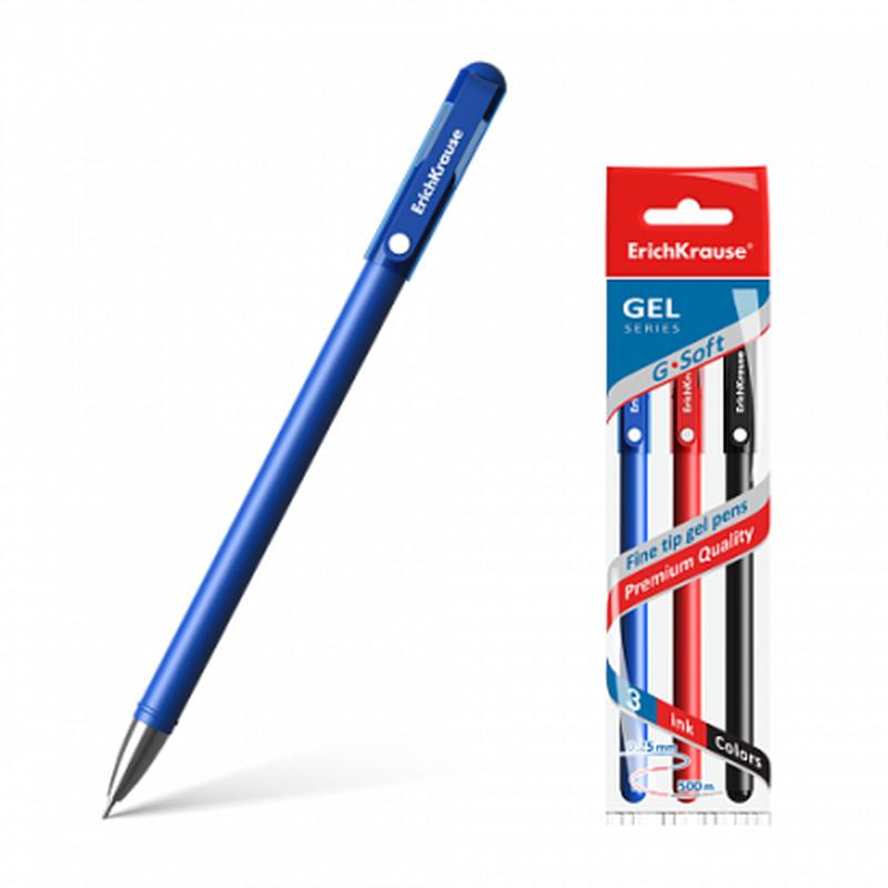 Ручка гелевая ErichKrause® G-Soft, цвет чернил: синий, черный, красный (в пакете по 3 шт.) 39521