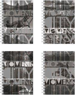 """Тетрадь на спирали А5, 120 листов """"CITY: Moments"""", серебро+черный+ламинат (глянцевый) 39998"""