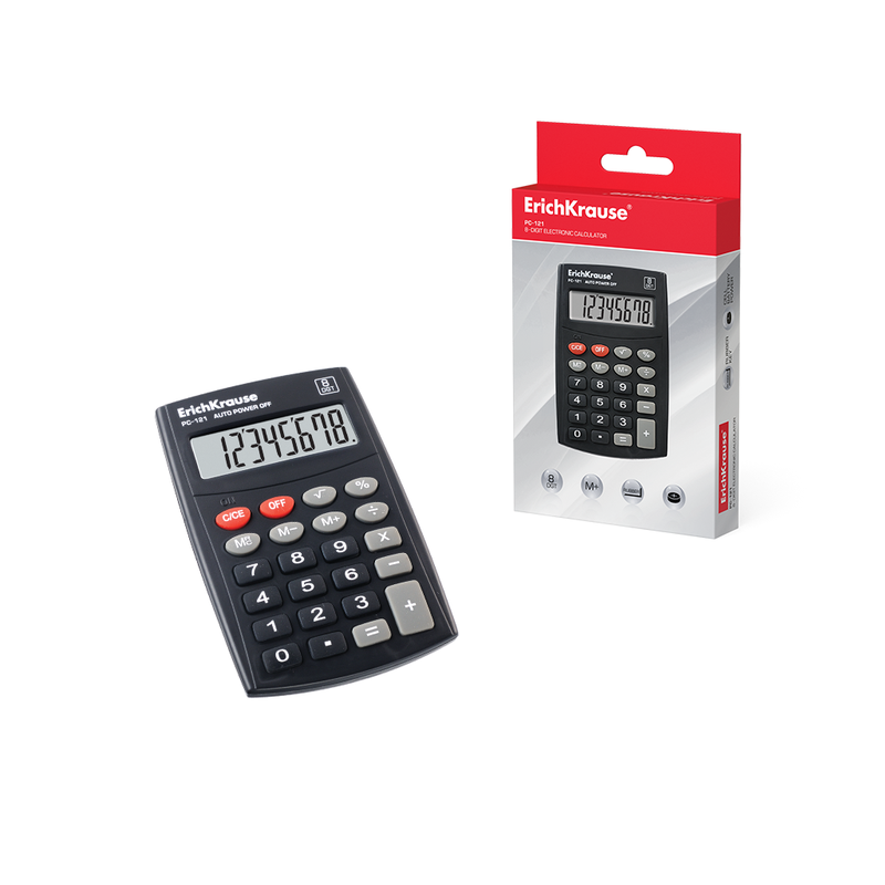 Калькулятор карманный 8-разрядов ErichKrause® PC-121 (в коробке по 1 шт.) 40121