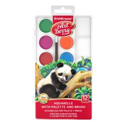 Краски акварельные ArtBerry с УФ защитой яркости 12 цветов, с палитрой и кистью. 41726